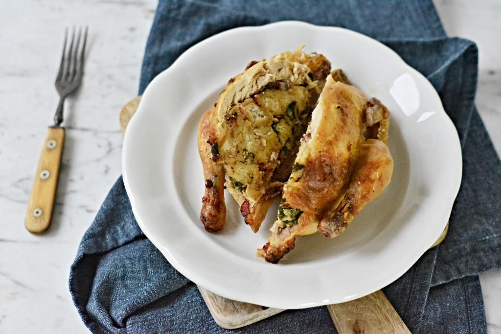 Jarní kuře se špenátovou nádivkou